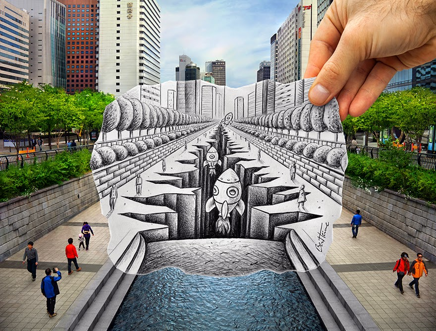 Ben Heine Art - Pencil Vs Camera - 77 in Seoul - South Korea