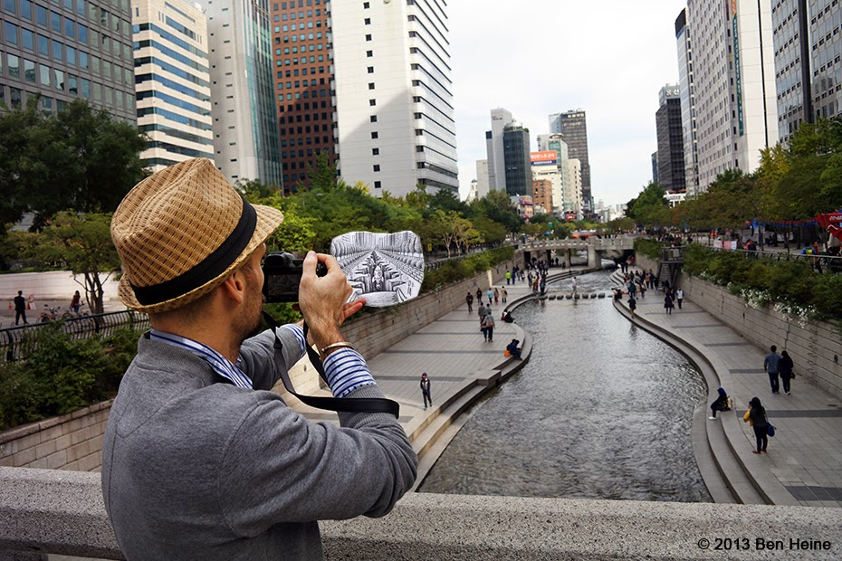 Ben Heine working on Pencil Vs Camera - 77 in Seoul 2 - Making of